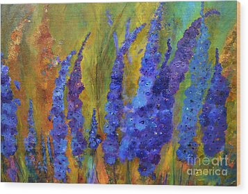 Delphiniums Wood Print by Claire Bull