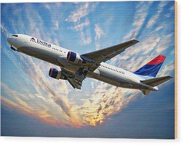 Delta Passenger Plane Wood Print