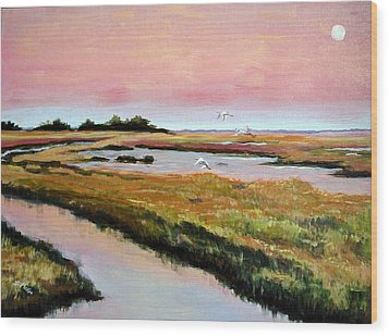 Wood Print featuring the painting Delta Sunrise by Suzanne McKee