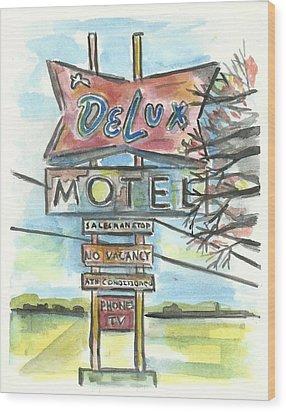 Delux Motel Wood Print by Matt Gaudian