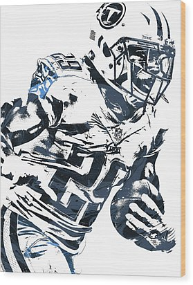 Wood Print featuring the mixed media Demarco Murray Tennessee Titans Pixel Art 2 by Joe Hamilton