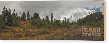 Mt. Rainier - Head In The Clouds Wood Print by Chuck Flewelling