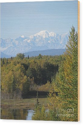 Denali In The Distance Wood Print