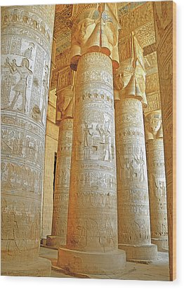 Dendera Temple Wood Print by Nigel Fletcher-Jones