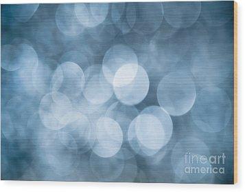 Wood Print featuring the photograph Denim Blue Bokeh by Jan Bickerton