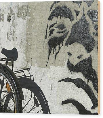 Denmark, Copenhagen Graffiti On Wall Wood Print by Keenpress