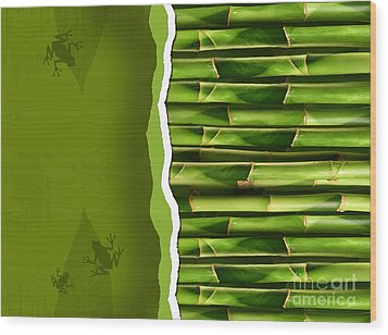 Dense Bamboo Stalk With Copyspace Wood Print by Sandra Cunningham