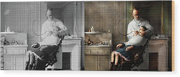 Wood Print featuring the photograph Dentist - Good Oral Hygiene 1918 - Side By Side by Mike Savad