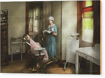 Wood Print featuring the photograph Dentist - Patients Is A Virtue 1920 by Mike Savad