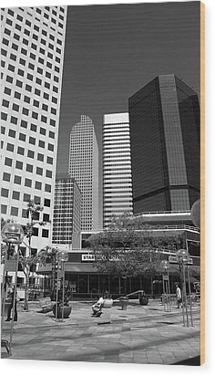 Denver Architecture Bw Wood Print by Frank Romeo