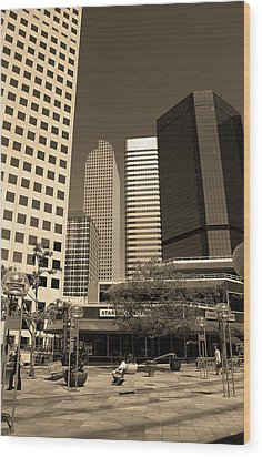 Wood Print featuring the photograph Denver Architecture Sepia by Frank Romeo