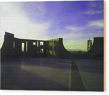 Wood Print featuring the photograph Denver Art Museum Deck 1 by Marilyn Hunt