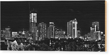 Denver At Night In Black And White Wood Print by Kevin Munro