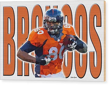 Wood Print featuring the digital art Denver Broncos by Stephen Younts