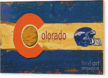 Denver Colorado Broncos 1 Wood Print