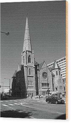 Denver Downtown Church Bw Wood Print by Frank Romeo