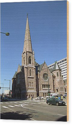 Wood Print featuring the photograph Denver Downtown Church by Frank Romeo