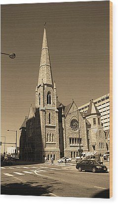 Wood Print featuring the photograph Denver Downtown Church Sepia by Frank Romeo