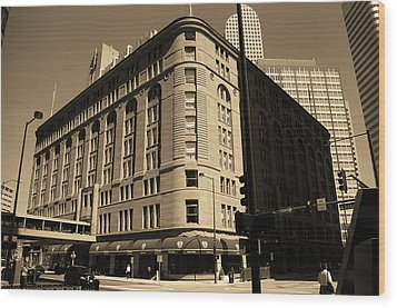 Wood Print featuring the photograph Denver Downtown Sepia by Frank Romeo