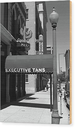 Denver Downtown Storefront Bw Wood Print by Frank Romeo