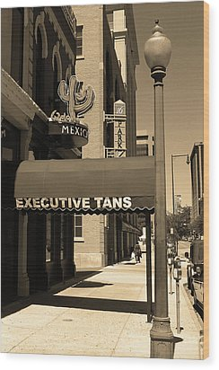Wood Print featuring the photograph Denver Downtown Storefront Sepia by Frank Romeo