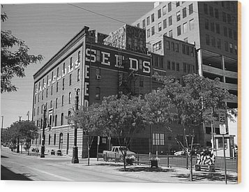 Denver Downtown Warehouse Bw Wood Print by Frank Romeo