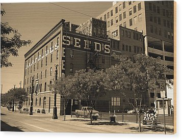 Wood Print featuring the photograph Denver Downtown Warehouse Sepia by Frank Romeo