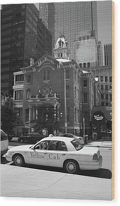 Denver Downtown With Yellow Cab Bw Wood Print by Frank Romeo