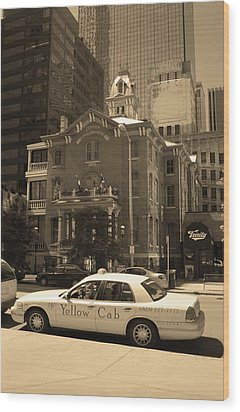 Wood Print featuring the photograph Denver Downtown With Yellow Cab Sepia by Frank Romeo