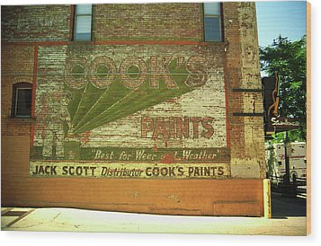 Wood Print featuring the photograph Denver Ghost Mural by Frank Romeo