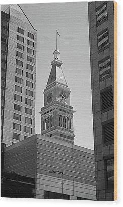 Denver - Historic D And F Clocktower 2 Bw Wood Print by Frank Romeo