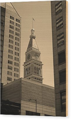 Wood Print featuring the photograph Denver - Historic D F Clocktower 2 Sepia by Frank Romeo