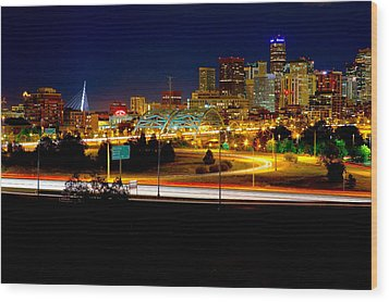 Denver Night Skyline Wood Print by James O Thompson