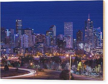 Denver Skyline At Night - Colorado Wood Print