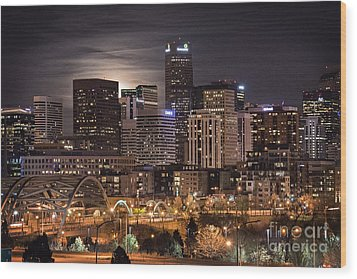 Denver Skyline At Night Wood Print