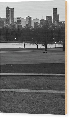 Wood Print featuring the photograph Denver Skyline In The Distance - Black-white by Gregory Ballos