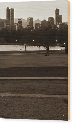 Wood Print featuring the photograph Denver Skyline In The Distance - Sepia by Gregory Ballos