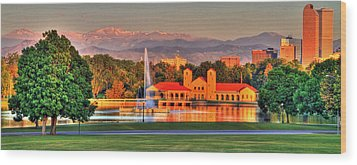 Denver Skyline Wood Print by Scott Mahon
