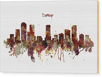 Wood Print featuring the mixed media Denver Skyline Silhouette by Marian Voicu