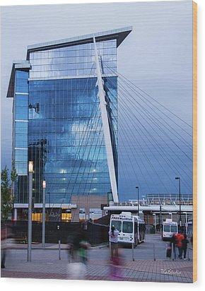 Denver Union Station And Milennium Bridge Wood Print