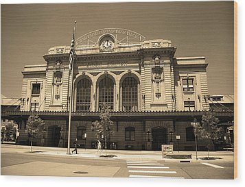 Wood Print featuring the photograph Denver - Union Station Sepia 5 by Frank Romeo