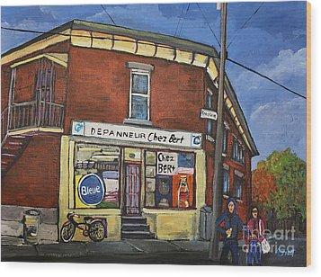 Depanneur Chez Bert Montreal Wood Print by Reb Frost
