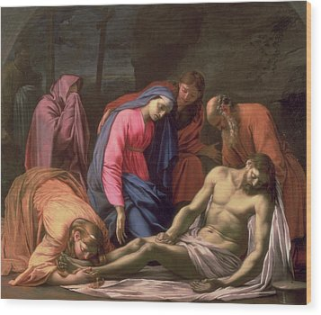 Deposition Wood Print by Eustache Le Sueur