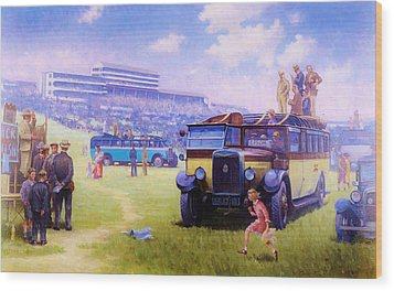 Derby Day Epsom Wood Print by Mike  Jeffries
