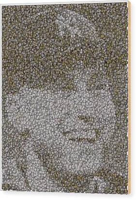 Wood Print featuring the mixed media Derek Jeter Baseballs Mosaic by Paul Van Scott