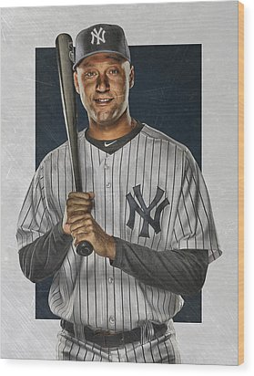 Derek Jeter New York Yankees Art Wood Print by Joe Hamilton