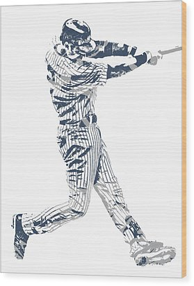 Derek Jeter New York Yankees Pixel Art 10 Wood Print