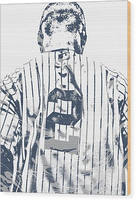 Derek Jeter New York Yankees Pixel Art 11 Wood Print