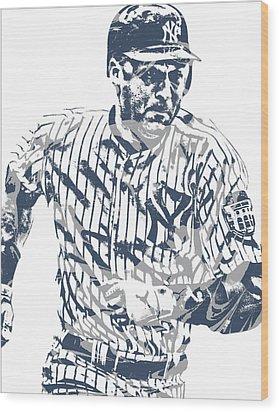Derek Jeter New York Yankees Pixel Art 12 Wood Print