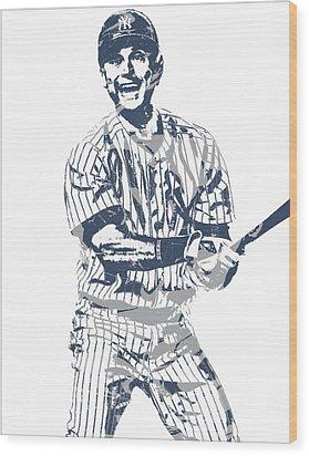 Derek Jeter New York Yankees Pixel Art 13 Wood Print